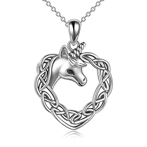 Unicorn Necklace for Women Sterling Silver Love Heart Horse Pendant Necklace Celtic Knot Irish Christmas Jewelry Gifts