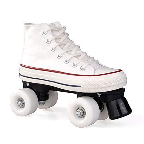Pinkskattings@ Canvas Schlittschuhe Rollschuhe Für Damen Mädchen Roller Quad Skates Komfortables Und Atmungsaktives Mit Zweireihigem Rad Obermaterial Leinwand Rollschuhe,Weiß,42
