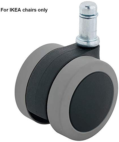 50 mm bureaustoel wielen zachte polyurethaan wielen vervanging veilig voor hardhouten vloeren met 3/8 inch (10mm) Stem Fit stoelen zwart Set van 5 Grijs