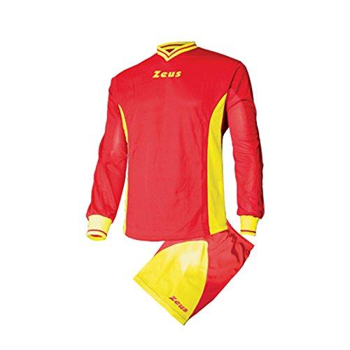 Zeus Dedalo Vêtement Complet Football Futsal Combinaison Tournoi Sport, Adulte Mixte Femme Fille bébé Homme, Rosso-Giallo