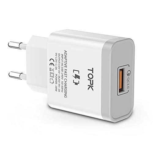 TOPK USB Ladegerät Quick Charge 3.0 18W Handy Schnellladegerät USB Netzteil USB Stecker für Handys Smartphones Navis Tablets, Weiß