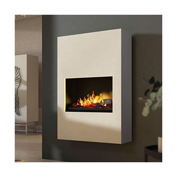Bergamo Torretta – Chimenea eléctrica Opti-Myst – Negro – Gris – Montaje de pared o de pie incluye calefacción – con…