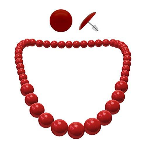 Soul-Cats® 1 collana di perle + 1 paio di orecchini tondi SET, Colore: rosso