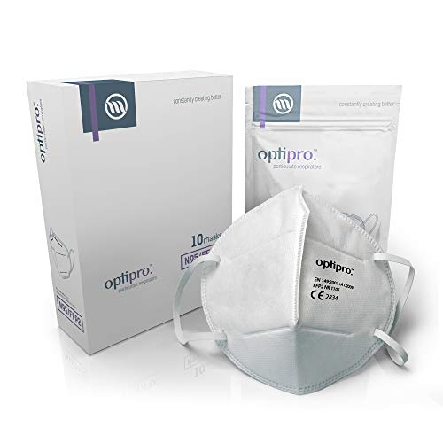 OptiPro Particulate Respirator (KN95 / FFP2) Gesichtsmaske - Vlies-Mehrschichtsystem mit hoher Filtrationskapazität - Filtert über 95% der in der Luft befindlichen Partikel (10er-Pack)