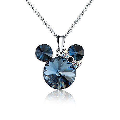 """HERMOSO Luckly Mouse Pendant necklace for women, Made with Swarovski Crystal,Platinum plating jewellery chain 16""""+2' (Blue)"""
