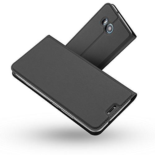 RADOO HTC U11 Lederhülle, Premium PU Leder Handyhülle Brieftasche-Stil Magnetisch Folio Flip Klapphülle Etui Brieftasche Hülle Schutzhülle Tasche Case Cover für HTC U11 (Schwarz grau)