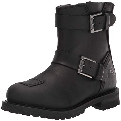 "HARLEY-DAVIDSON FOOTWEAR Women's Bremerton 6"" Dbl Bkl Motorcycle Boot, Black, 9"