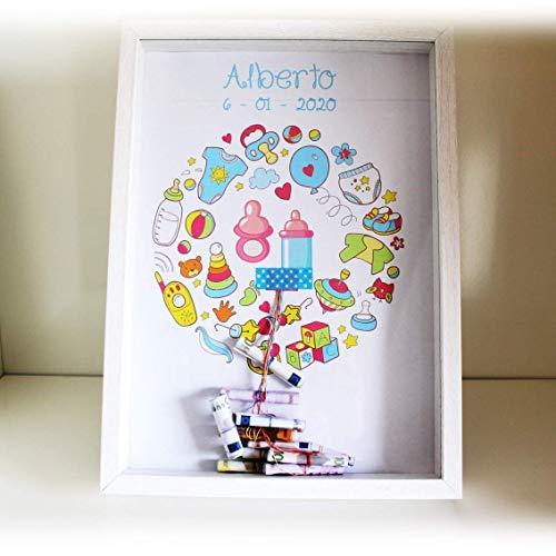 Didart Handmade Cuadro para bebe, regalo recién nacido, personalizado. Para regalar dinero de forma original. Hecho en España