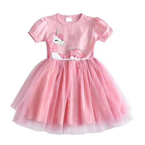 DXTON Mädchen Kleider Einhorn Prinzessin Freizeit Knielang Kleid SH4570-6Y