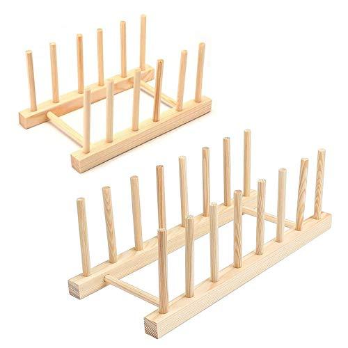 Etern 2PCS Soporte de Plato de Bambú de Madera, Vajilla Soporte de Plato de Madera, para Guarde los Platos, Tazones y Tazas en su Conjunto para Drenar el Agua