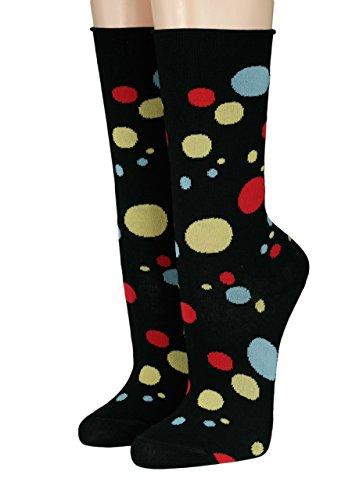 CRÖNERT Longsocks Söckchen im Design Seifenblasen Artikel Socke 18502 (35-38, schwarz)