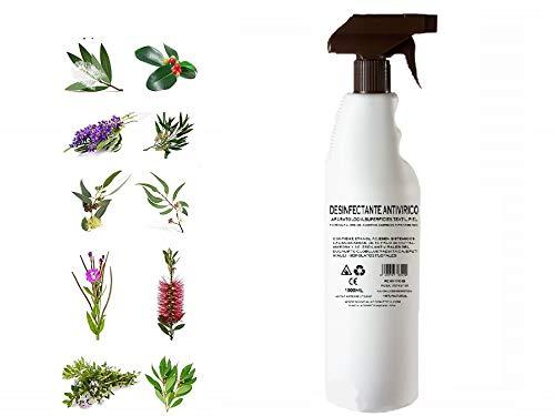 SPRAY ANTIVIRICO DESINFECTANTE 1LITRO 100% Natural-10 Aceites Esenciales.Limpiador Hidroalcohólico 100% Eficaz. Piel, textil, Multisuperficie.