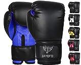 JAYEFO Beginners Leather Boxing MMA Muay Thai Gloves Kick Boxing Gloves Sparring Gloves MMA Gloves Bag Gloves (Black-Blue, 12 OZ)