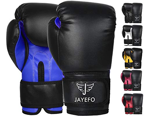 Jayefo Beginners Leather Boxing MMA Muay Thai Gloves Kick Boxing Gloves Sparring Gloves MMA Gloves Bag Gloves (Black-Blue, 12 OZ)