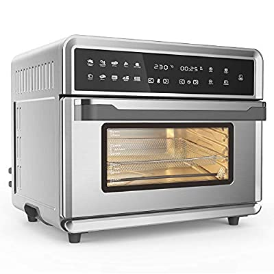 Smart Air Fryer Oven, 1800 W Stainless Steel 26.4 QT Super Big Capacity Toaster Oven with 10-In-1 Presets in Electric Digital Screen and Practical Accessories