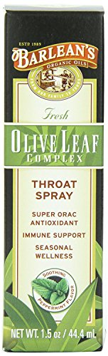 Barlean's Organic Oils Olive Leaf Complex Throat Spray, Peppermint Flavor 1.5-Ounce (Pack of 2)