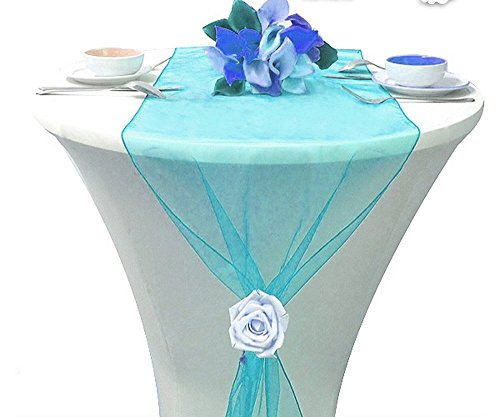"""Table Runner Centerpiece 12"""" X 108"""" Dresser Cover Wedding Reception or Party Fall Decorations Pack of (5, Turquoise)"""