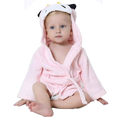 Hooyi Peignoir de bain à capuche pour bébé fille Panda Cartoon 0-12 mois Rose 0-12 mois