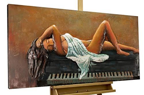KunstLoft Extravagantes Metallbild 3D 'Klavierstunde' 120x60x5cm | Design Wanddeko XXL handgefertigt | Unikat Luxus Wandskulptur | Frau Klavier Schwarz Weiß | Wandbild Relief modern