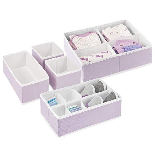 mDesign Soft Fabric Dresser Drawer and Closet Storage Organizer Set for Child/Baby Room or Nursery - Set of 5 Organizers - Light Purple/White