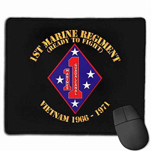 1st Marine Regiment - Vietnam 1966-1971 Mouse Pad with Stitched Edge - Non-Slip Rubber Base Mousepad