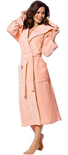 Morgenstern Bademantel Frauen mit Kapuze in Apricot Geena Kapuzenbademantel Hausmantel wadenlang einfarbig Frauen lang L Saunamantel