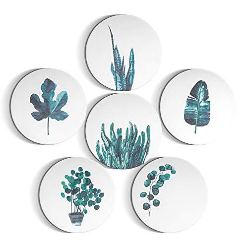 ComSaf Keramik Untersetzer mit Korkschicht, Dekorative Saugfähige Untersetzer fur Glas, Getränke, Tassen, Vasen, Kerzen und Bar(6-er Set, Rund, 10cm)
