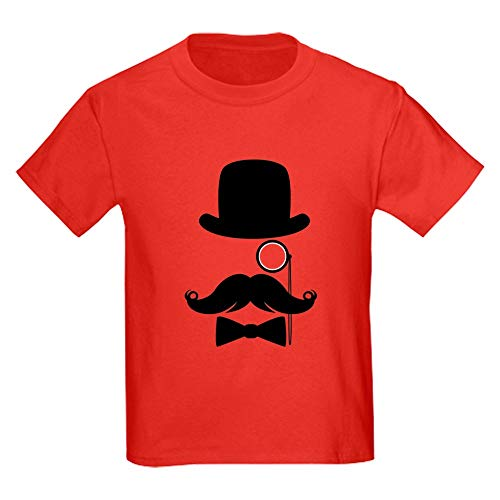 CafePress Funny Mustache Face with Monocle T Shirt Kids Cotton T-Shirt Red