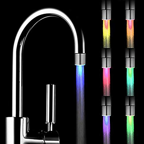 Kitchen Sink LED Light Faucet Romantic 7 Color Change Tap Water Glow Water Stream Shower LED Faucet Taps Bathroom Stream Shower LED Faucet Lights Water Tap Head (Silver)