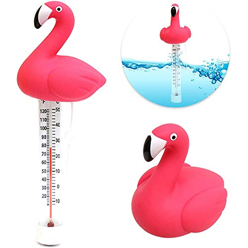Porcyco drijvende water thermometer, Cartoon stijl Zwembad drijvende Thermometer, Flamingo vorm Shatter Resistant Thermometer, voor Zwembaden, Spa's, Aquariums