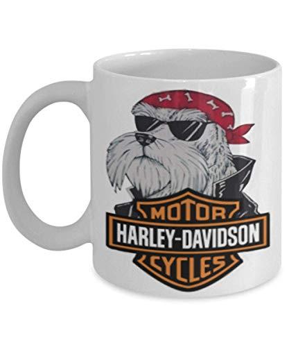 N\A Tazza da caffè Schnauzer Harley Davidson Un Grande Regalo per Te o i Tuoi Amici Non trovati