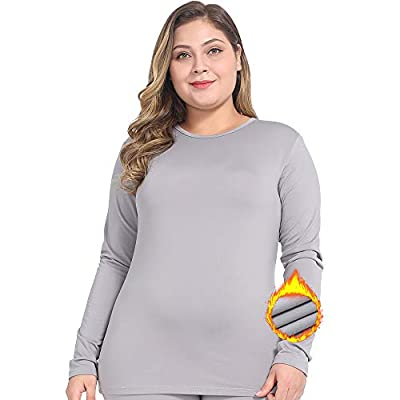 NUONITA Womens Thermal Tops Plus Size Fleece Lined Underwear Shirt Long Sleeve Base Layer?18W, Grey?
