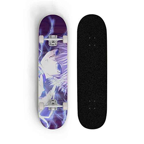 Kssmice Hunter × Hunter: Killua Zoldyck Komplette Skateboards-Standard-Skateboards für Anfänger Kinder Jungen Mädchen Teenager Erwachsene-Standard-Skateboards 31's 8 '' '