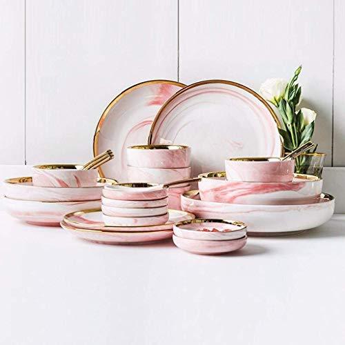 Kyman Juego de vajilla de cerámica (26 piezas), tazón/plato/cuchara/juego de vajilla de mármol Phnom, juego de vajilla de combinación de estilo minimalista nórdico, cena rosa
