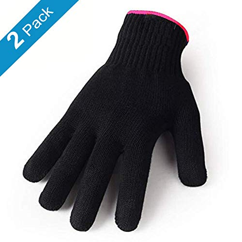 Heat Resistant Gloves for Hair Styling, Curling Iron, Flat Iron and Curling Wand, Black, Pink Edge, 2 Pack