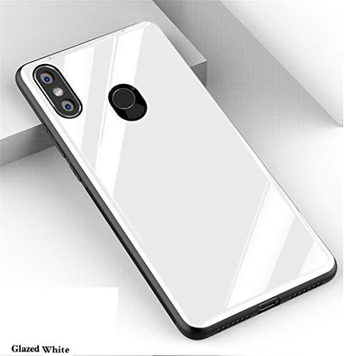 "XunEda Funda Xiaomi Mi MAX 3 6.9"", 9H Vidrio Templado Respaldo TPU Bumper Non-Slip Cover Case Protectora Brillante Anti-Rasguño Anti-Scratch Case Cover para Xiaomi Mi MAX 3 (Blanca)"