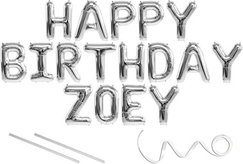 Zoey, Happy Birthday Mylar Balloon Banner - Silver - 16 inch Letters. Includes 2 Straws for Inflating, String for Hanging. Air Fill Only- Does Not Float w/Helium. Great Birthday Decoration