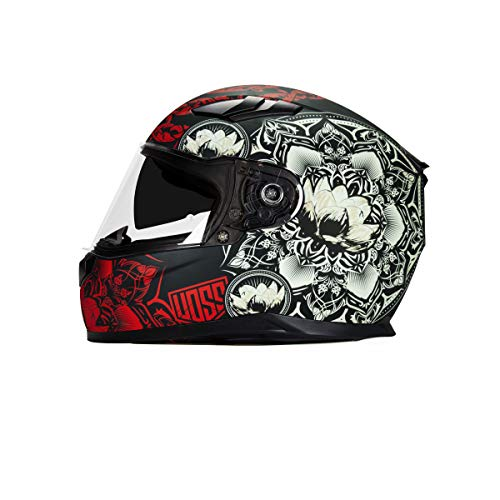 Voss 988 Moto-1 Lily Graphic Street Full Face Helmet with Drop Down Internal Sun Lens - XL - Black/Pink Lily