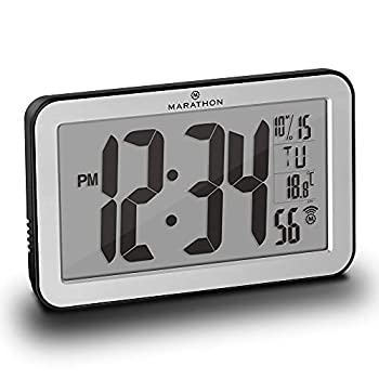 Marathon Commercial Grade Panoramic Autoset Atomic Digital Wall Clock with Table or Desk Stand Date and Temperature 8 Time Zone Auto DST Self Setting Self Adjusting Batteries Included  Silver