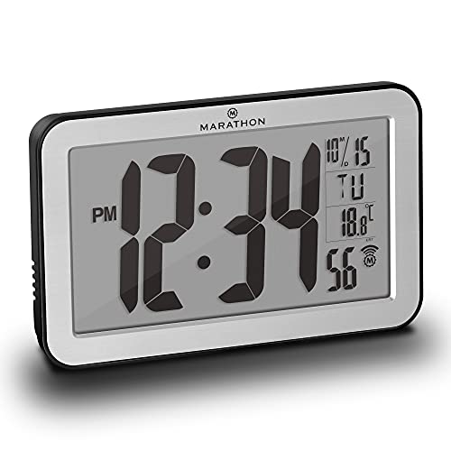 Small Battery Operated Digital Wall Clock with Seconds, Date and Temperature