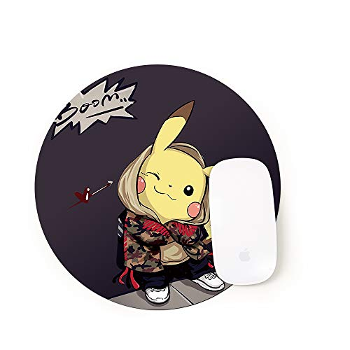 Vision Round Mouse Pad, Non-Slip Natural Rubber Base, Enhance Thickness, Waterproof, Gaming Mouse Pad Laptop Keyboard Pad, Computer PC (8.66x8.66 inch, Fire Shadow Pikachu SE-106)