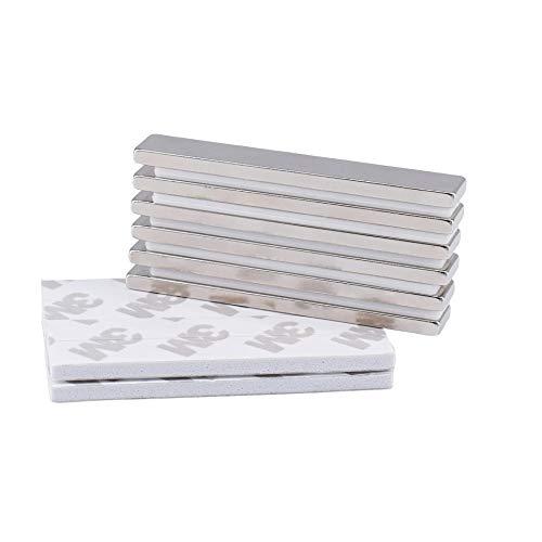 Magnetpro Imanes de barra de neodimio fuerza 4.5 KG con adhesivo de doble cara, imán de neodimio metálico de tierras raras - 60 x 10 x 3 mm, paquete de 6