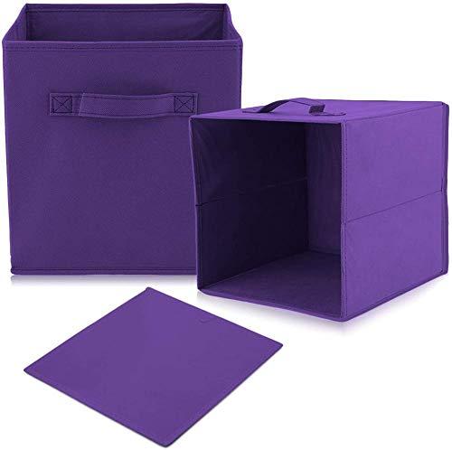 Set di 4 scatole portaoggetti pieghevoli intessuto con maniglie, cubi portaoggetti e portaoggetti in tessuto