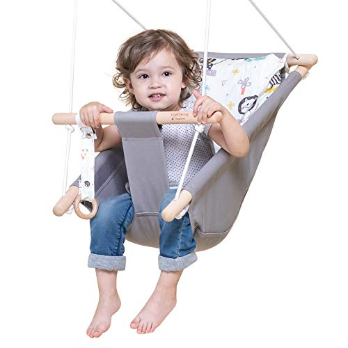 Baby Swing for Infants and Toddler, Canvas Baby Hammock Swing Indoor and Outdoor with Safety Belt and Mounting Hardware, Wooden Hanging Swing Seat Chair for Baby up to 4 Year - Cute Animal