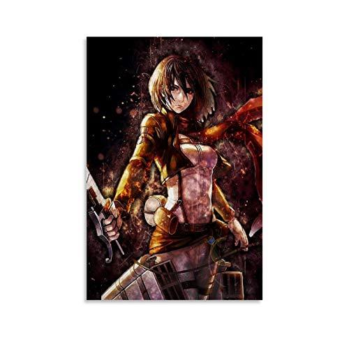FGDFS Póster de Attack On Titan 2 inspirado en anime, impresión de acuarela, decoración de pared para habitación de niños, 30 x 45 cm