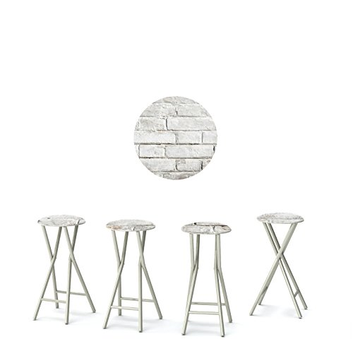 """Best of Times 13169W2408 White CINDERBLOCK 30"""" Padded Bar Stools-Set of (4)"""