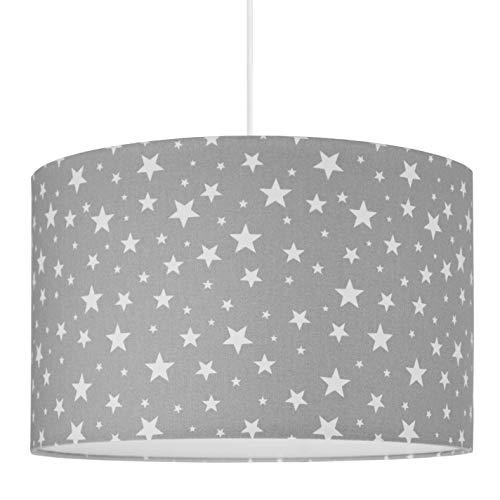 youngDECO Lampe für Baby- und Kinderzimmer, Sterne auf grau, großer Lampenschirm 38x24cm, skandinavische Kinderzimmer-Deko für Mädchen & Junge, komplette Deckenlampe für Kinderzimmer