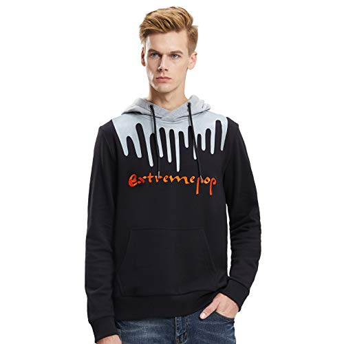 Extreme Pop Hombre Camo Hooded Sweatshirt Digital Imprimir Hood Jumper Military Hoodie Tops Reino Unido Stock (S, Negro)