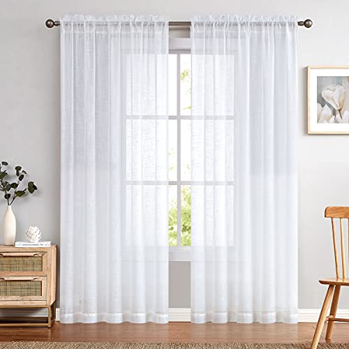 Sheer Window Curtains for Bedroom Linen Textured White Curtain Panels for Living Room 108 inch Length Rod Pocket 2 Panels
