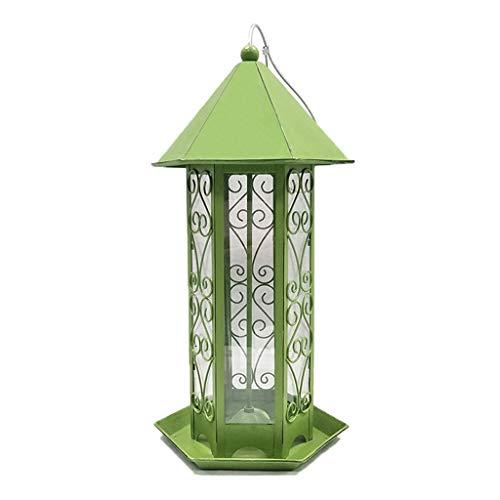 Dashun Alimentador de pájaros de Metal al Aire Libre Verde para pájaros Salvajes, alimentador de pájaros Colgante